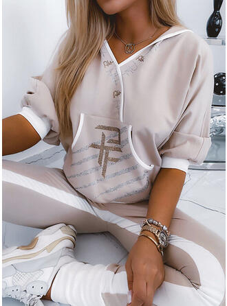 Carta Casual camisolas & Roupas de Duas Peças Set ()