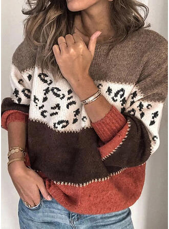 Impresión Bloque de Color Leopardo Cuello Redondo Casuales Suéteres