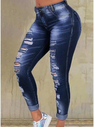Couleur Unie Treillis Longue Décontractée Grande taille Poche déchiré Pantalon Jeans