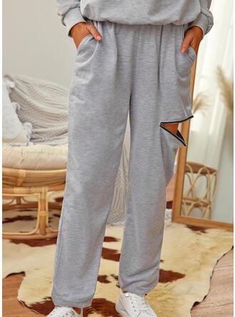 Sólido Largo Casual shirred Pantalones