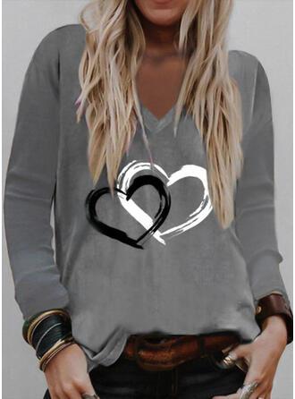 Corazón Impresión Cuello en V Manga Larga Camisetas