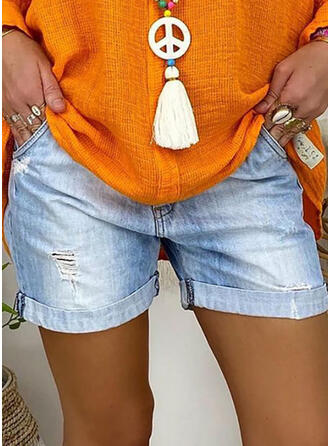 Solid Denim Above Knee Casual Vacation Plus Size Ripped Pants Shorts Denim & Jeans