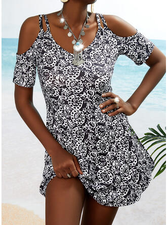 Print 1/2 Sleeves A-line Above Knee Casual Skater Dresses