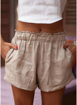 Solid Above Knee Casual Solid Shorts