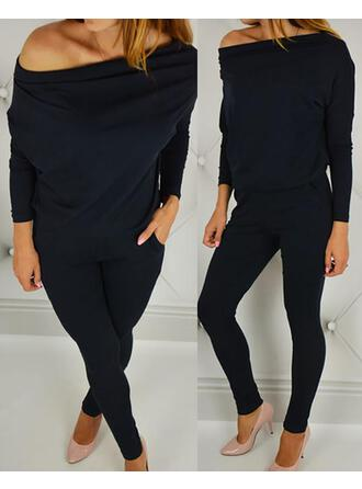 Off the Shoulder Long Sleeves Solid Color Fashionable Top & Pants Sets