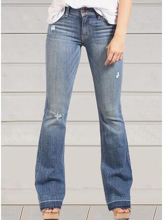 Solid Denim Long Casual Vintage Plus Size Pocket Ripped Denim & Jeans