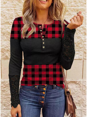Color Block Plaid Lace Round Neck Long Sleeves Casual Blouses