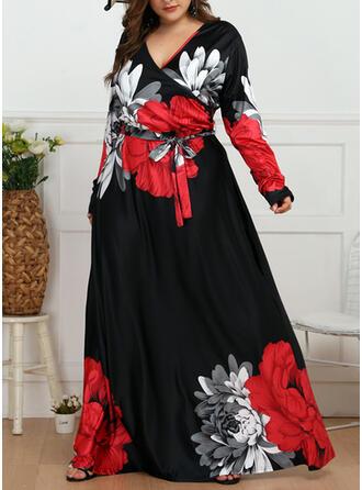 Plus Size Floral Print Long Sleeves A-line Maxi Elegant Dress