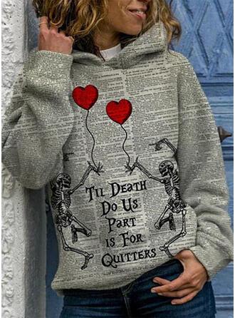 Impresión Víspera de Todos los Santos Corazón Manga larga con capucha