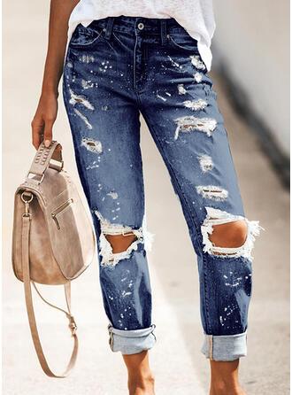 Couleur Unie Treillis Longue Décontractée Jeans