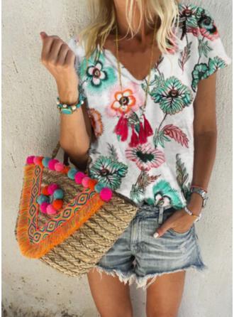 Floral Print V-Neck Short Sleeves T-shirts