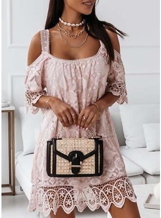Lace Short Sleeves Cold Shoulder Sleeve Above Knee Casual/Elegant Dresses