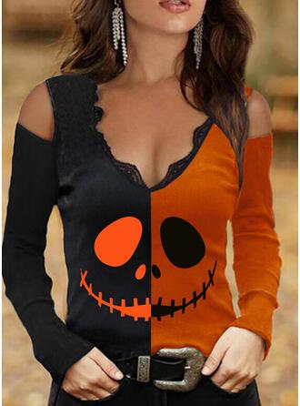 Halloween Bloc de Couleur Imprimé Dentelle Accueil froid Manches Longues T-shirts