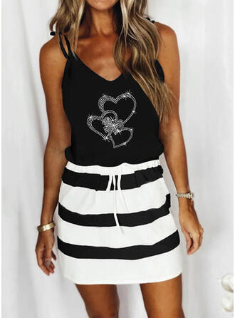 Sequins/Color Block/Striped/Heart Sleeveless Sheath Above Knee Casual Slip Dresses