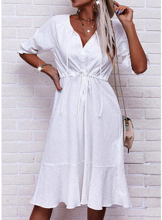 Solid 1/2 Sleeves A-line Skater Casual Midi Dresses
