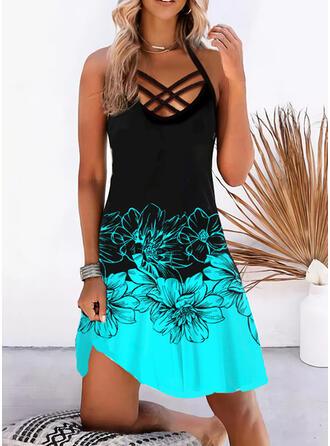 Print/Floral Sleeveless Sheath Knee Length Vacation Dresses