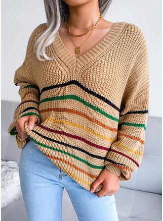 raya Cuello en V Casual Suéteres