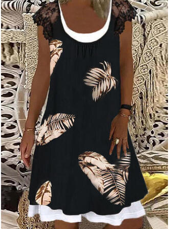 Lace/Print Short Sleeves Shift Knee Length Casual Dresses