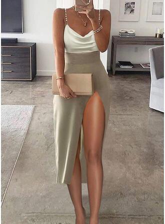 Trozos de color Sin mangas Cubierta Camisón Elegante Midi Vestidos