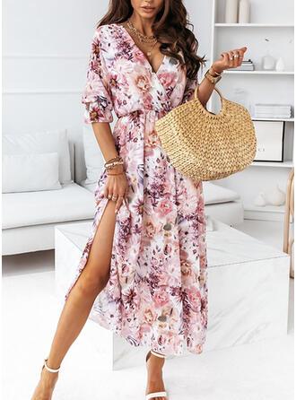 Impresión/Floral Gasa Mangas 1/2 Vestido línea A Patinador Casual/Vacaciones Maxi Vestidos