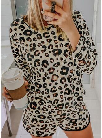 Pockets Leopard Drawstring Casual Elegant Suits