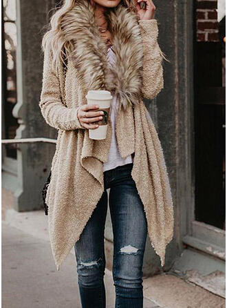 Solid Casual Asymmetrical Cardigan