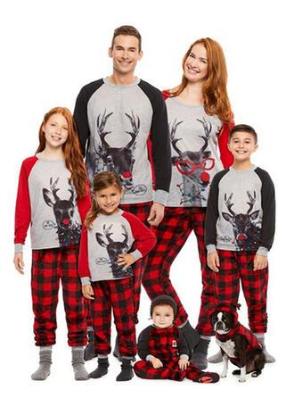 Deer Plaid Print Family Matching Christmas Pajamas