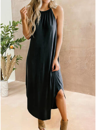Couleur Unie Sans Manches Coupe droite Petites Robes Noires/Décontractée Midi Robes