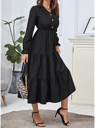 Solid Long Sleeves A-line Skater Little Black/Casual Midi Dresses