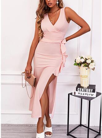 Solid Sleeveless Sheath Elegant Midi Dresses