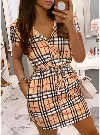 Plaid Short Sleeves Sheath Above Knee Casual Dresses
