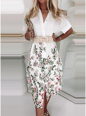 Floral Short Sleeves Casual Midi Dresses