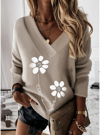 Print Floral Letter V-Neck Long Sleeves Sweatshirt