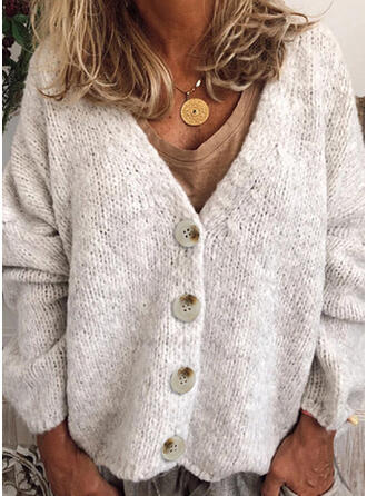 Polyester Long Sleeves Solid Chunky knit Cardigans