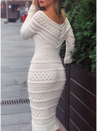 Solid Off the Shoulder Casual Long Tight Sweater Dress