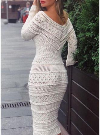 Solid Long Sleeves Bodycon Sweater/Pencil Elegant Midi Dresses