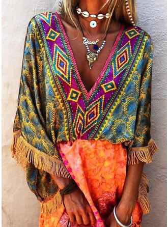 Print/Tassel 3/4 Sleeves Shift Above Knee Boho Tunic Dresses