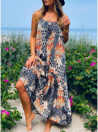 Print Sleeveless Shift Slip Boho Maxi Dresses