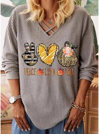 Leopard V-Neck Long Sleeves Casual Halloween Knit Blouses