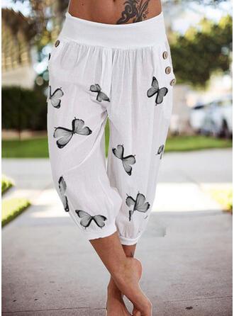 Imprimé papillon Capris Décontractée Vacances Grande taille Poche Boutons Pantalon Pantalons de détente