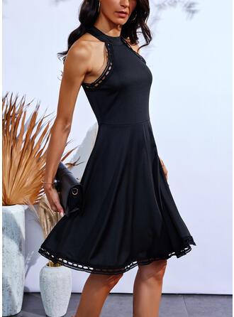 Sólido Sin mangas Vestido línea A Sobre la Rodilla Pequeños Negros/Casual Patinador Vestidos