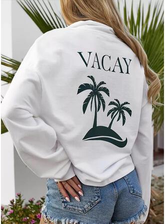 Print Letter Lapel Long Sleeves Sweatshirt