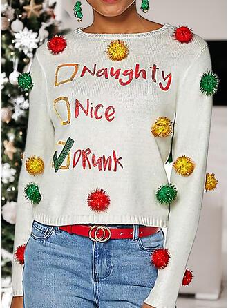 Mulheres Estampado Carta Camisola de Natal Feio