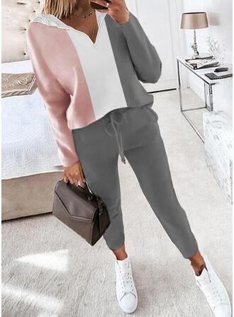 Colorido Casual Tamanho positivo camisolas & Roupas de Duas Peças Set ()