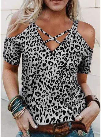 Leopard Cold Shoulder Short Sleeves T-shirts