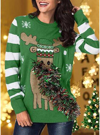 Mulheres Estampado Colorido Listra Rena Camisola de Natal Feio