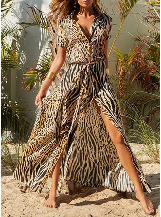 Print/Leopard Short Sleeves Shift Shirt Casual/Vacation Maxi Dresses