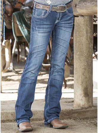 Couleur Unie Treillis Longue Décontractée Ancien Grande taille Poche Jeans
