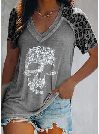 Leopardo Impresión Cuello en V Manga Corta Camisetas