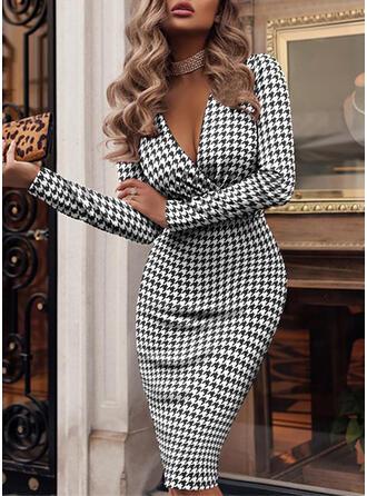 Print/Plaid Long Sleeves Bodycon Knee Length Elegant/Office/Business Pencil Dresses